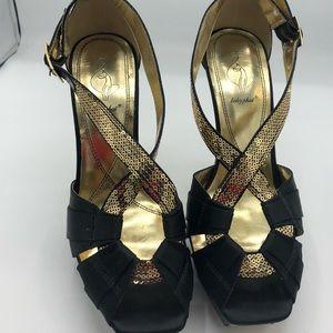 Baby Phat Black & Gold Peep Toe Heels. Size 10